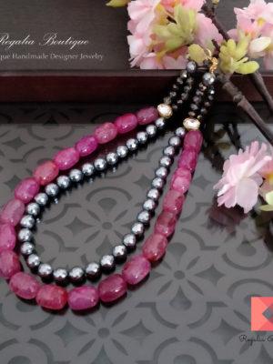Modern semi-precious bead necklace